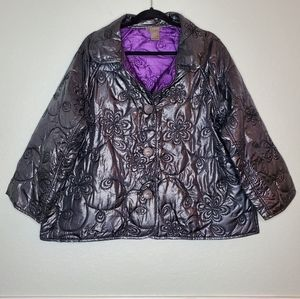 KENAR   Dark Gray Foil Metallic Crop Jacket Size X